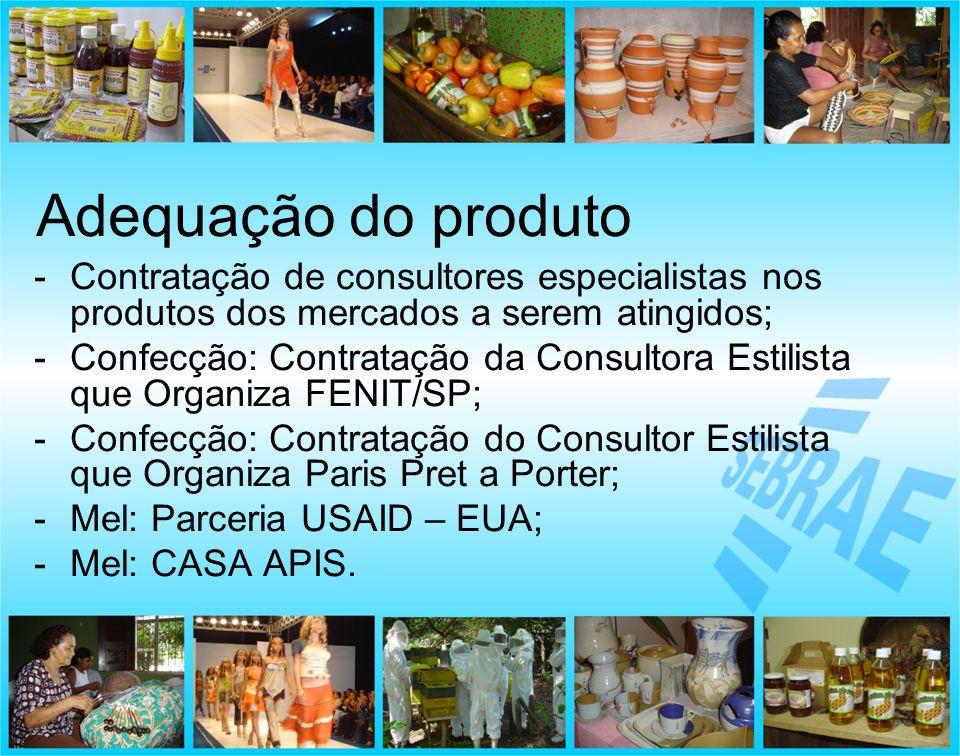 Adequação do produto Contratação de consultores especialistas nos produtos dos mercados a serem atingidos;
