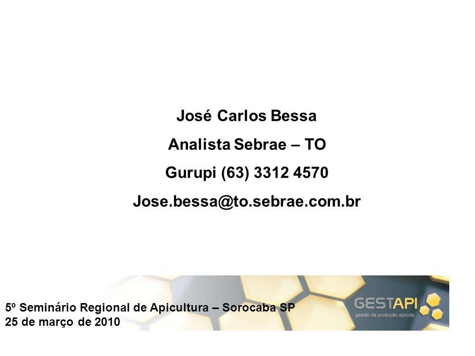 José Carlos Bessa Analista Sebrae – TO Gurupi (63) 3312 4570 Jose.bessa@to.sebrae.com.br