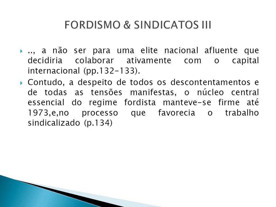 FORDISMO & SINDICATOS III