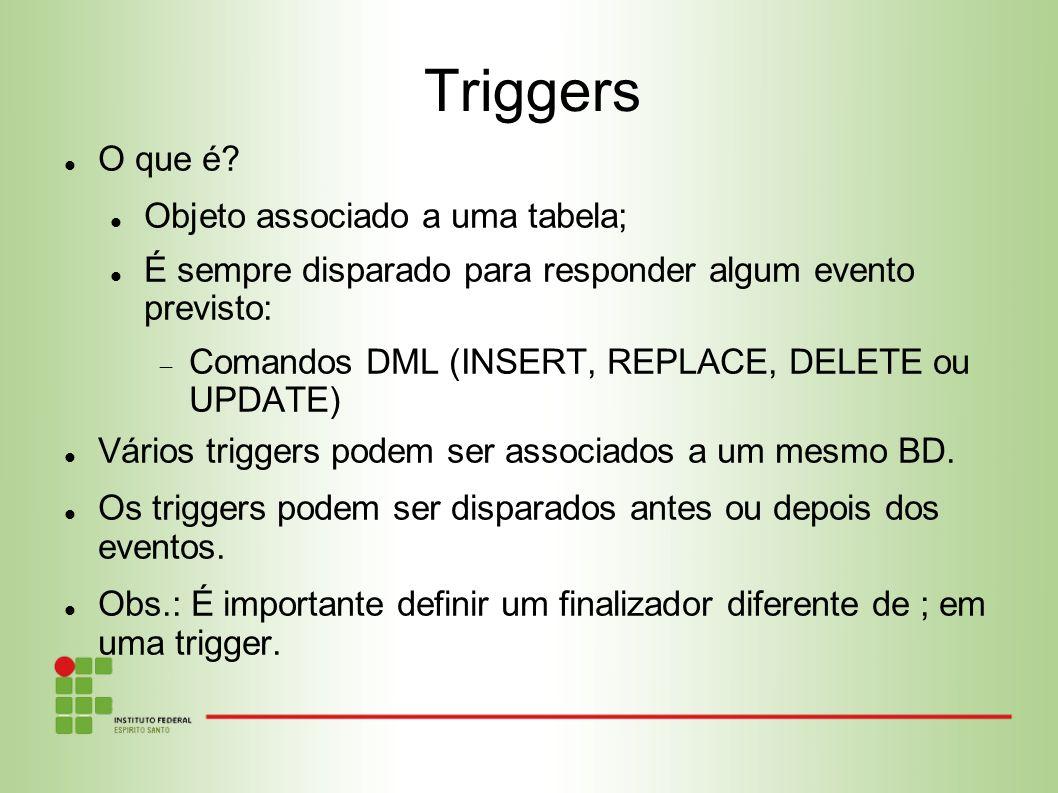 Triggers O que é Objeto associado a uma tabela;