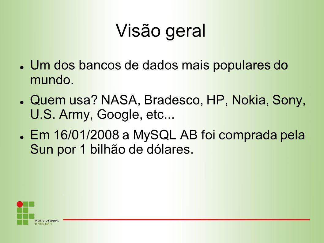 Visão geral Um dos bancos de dados mais populares do mundo.