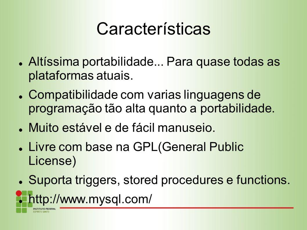 Características Altíssima portabilidade... Para quase todas as plataformas atuais.