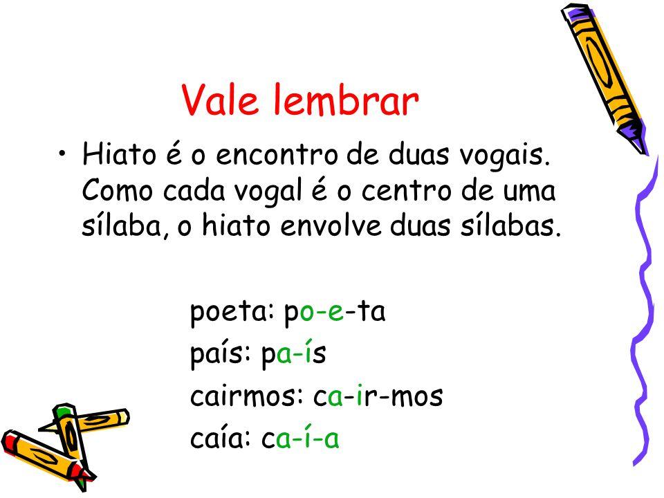 Vale lembrar Hiato é o encontro de duas vogais. Como cada vogal é o centro de uma sílaba, o hiato envolve duas sílabas.