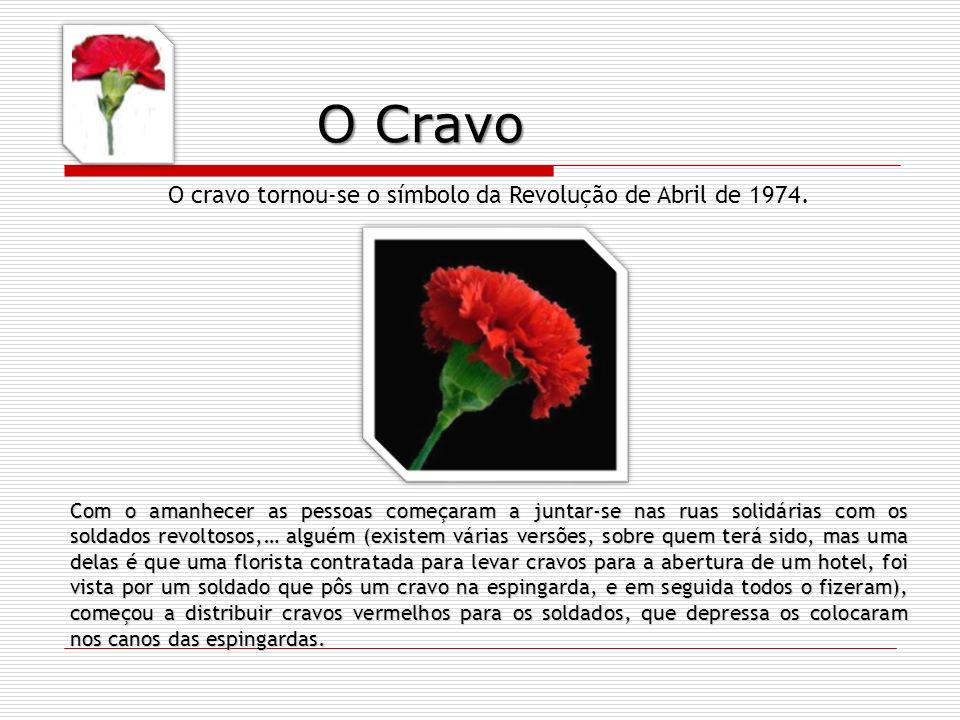 O cravo tornou-se o símbolo da Revolução de Abril de 1974.