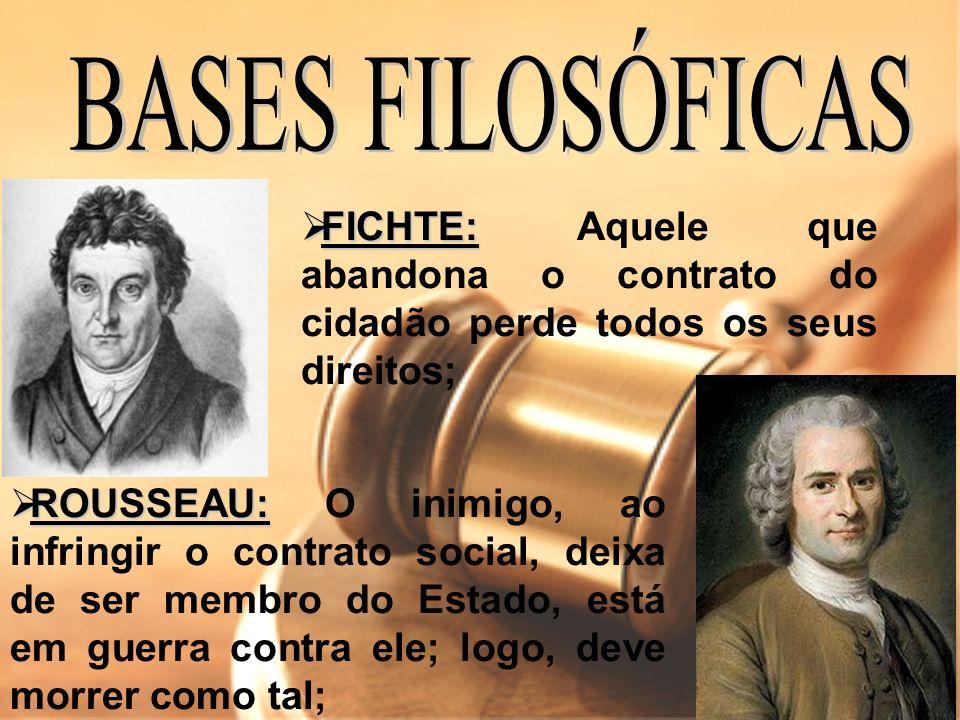 BASES FILOSÓFICAS FICHTE: Aquele que abandona o contrato do cidadão perde todos os seus direitos;