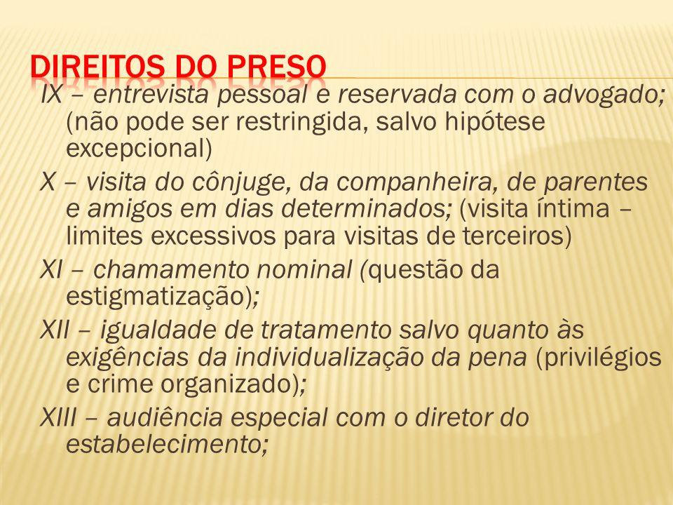 Direitos do Preso IX – entrevista pessoal e reservada com o advogado; (não pode ser restringida, salvo hipótese excepcional)