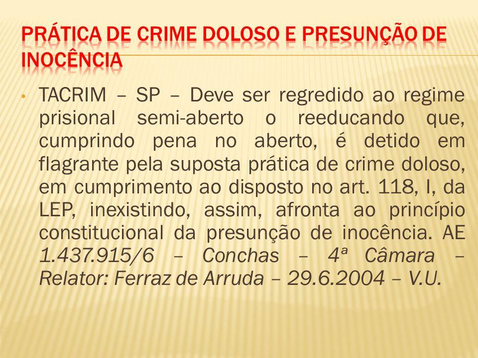 Prática de crime doloso e presunção de inocência