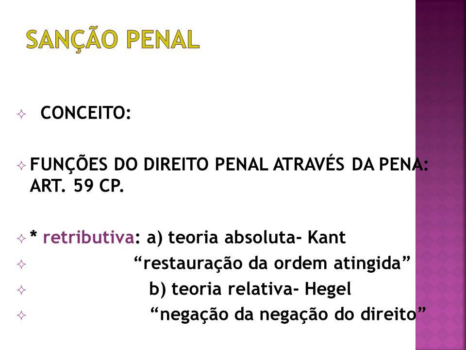 SANÇÃO PENAL CONCEITO: