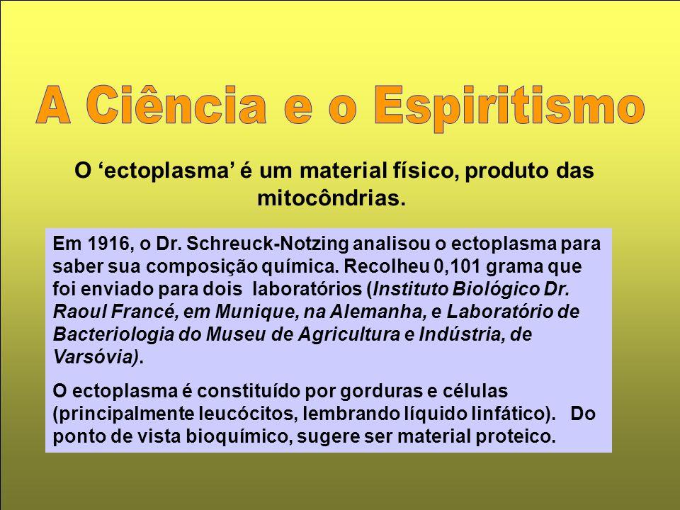 O 'ectoplasma' é um material físico, produto das mitocôndrias.