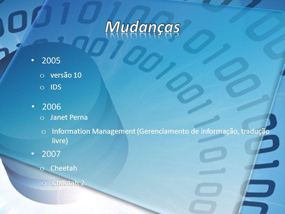 Mudanças 2005 2006 2007 versão 10 IDS Janet Perna