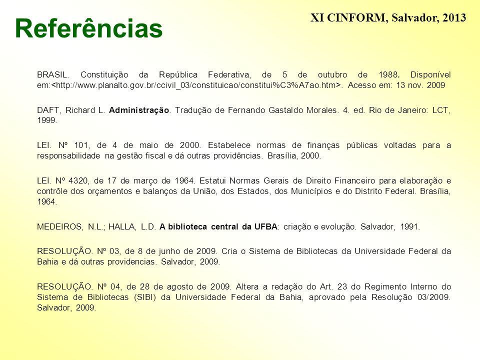 Referências XI CINFORM, Salvador, 2013
