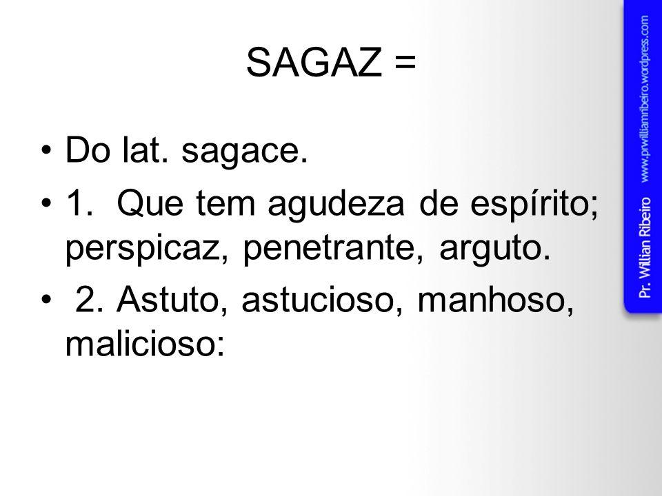 SAGAZ = Do lat. sagace. 1. Que tem agudeza de espírito; perspicaz, penetrante, arguto.