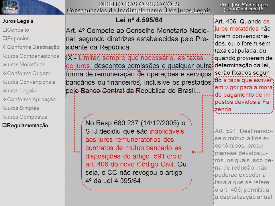 Lei nº 4.595/64 Art. 4º Compete ao Conselho Monetário Nacio- nal, segundo diretrizes estabelecidas pelo Pre- sidente da República: