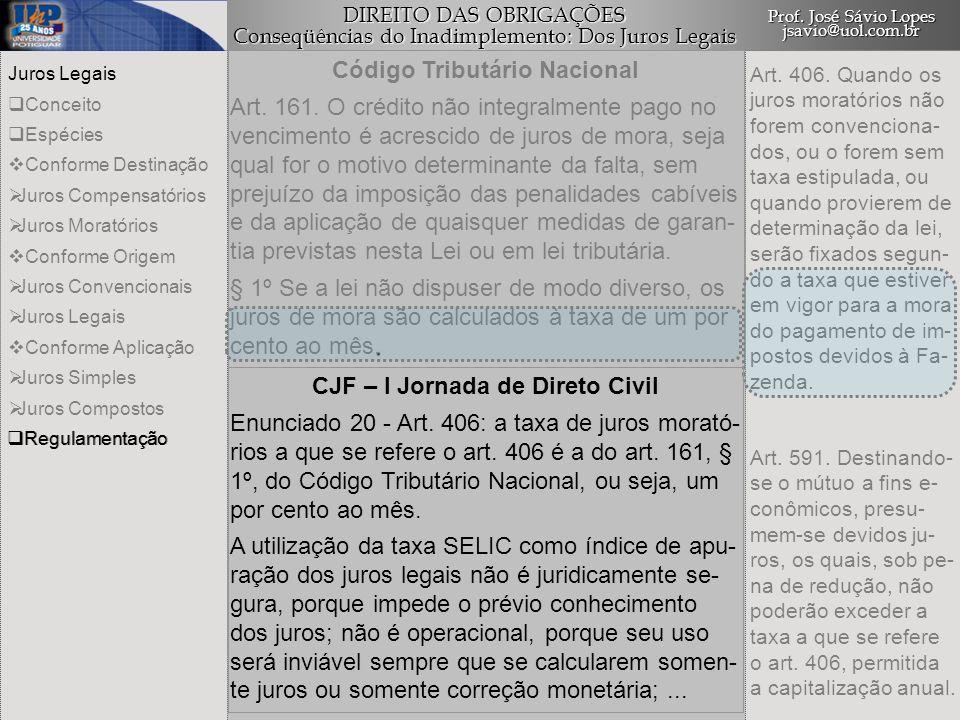 Código Tributário Nacional CJF – I Jornada de Direto Civil
