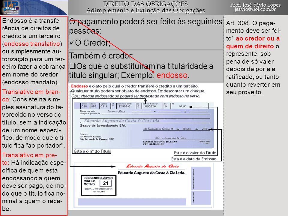 O pagamento poderá ser feito às seguintes pessoas: O Credor;