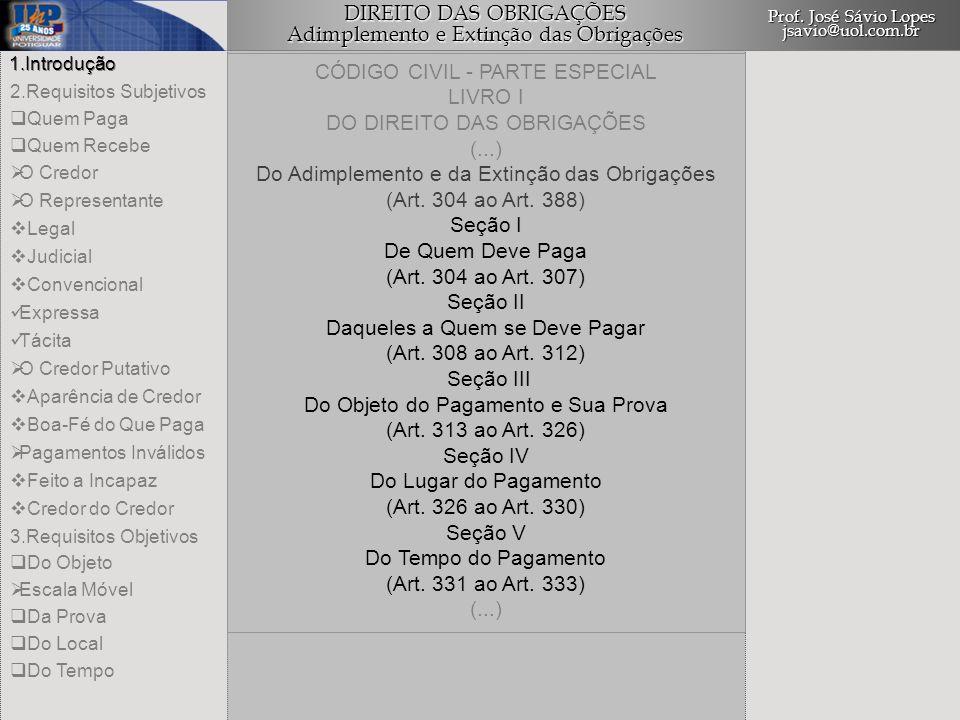 CÓDIGO CIVIL - PARTE ESPECIAL LIVRO I DO DIREITO DAS OBRIGAÇÕES (...)