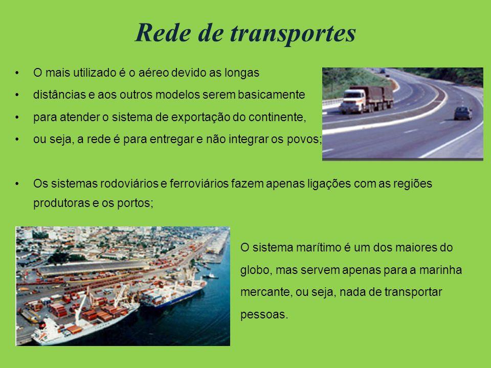 Rede de transportes O mais utilizado é o aéreo devido as longas