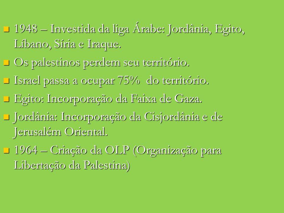 1948 – Investida da liga Árabe: Jordânia, Egito, Líbano, Síria e Iraque.