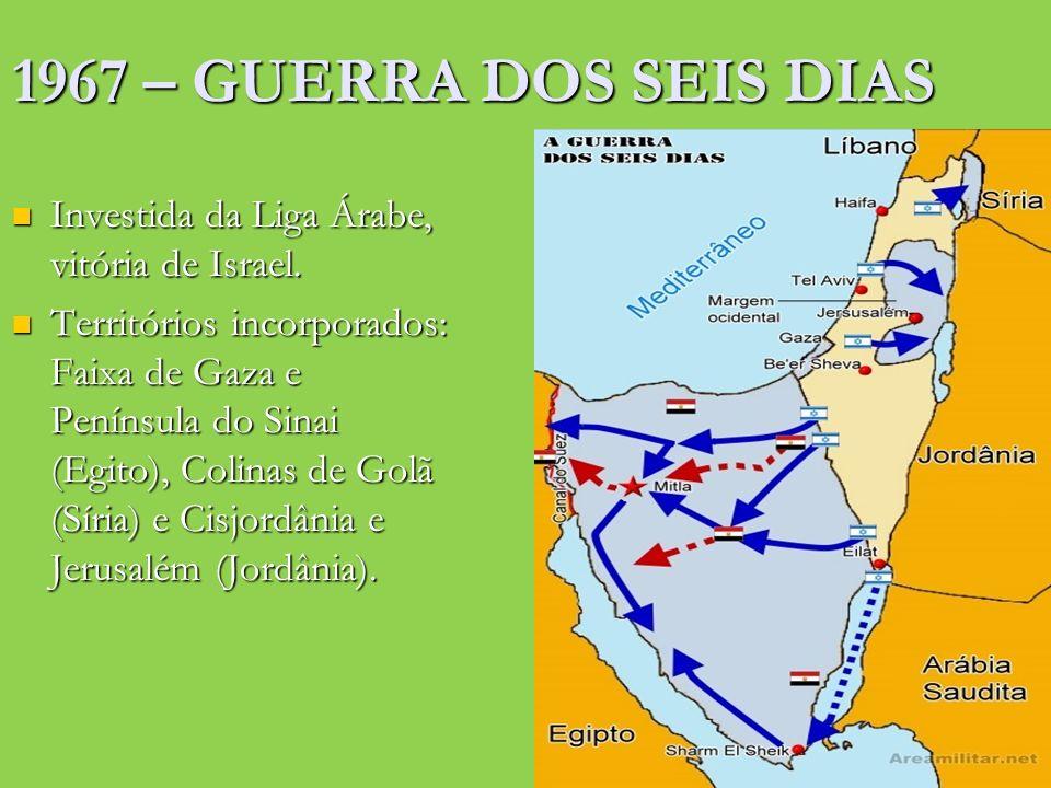 1967 – GUERRA DOS SEIS DIAS Investida da Liga Árabe, vitória de Israel.