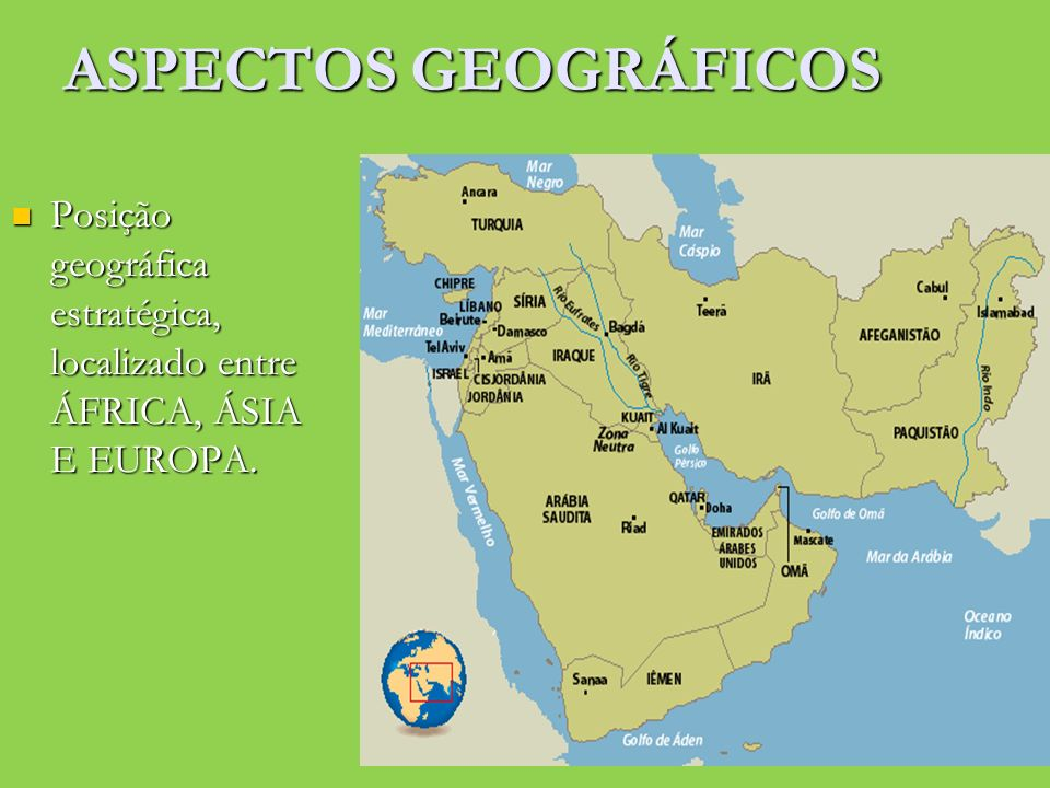 ASPECTOS GEOGRÁFICOS Posição geográfica estratégica, localizado entre ÁFRICA, ÁSIA E EUROPA.