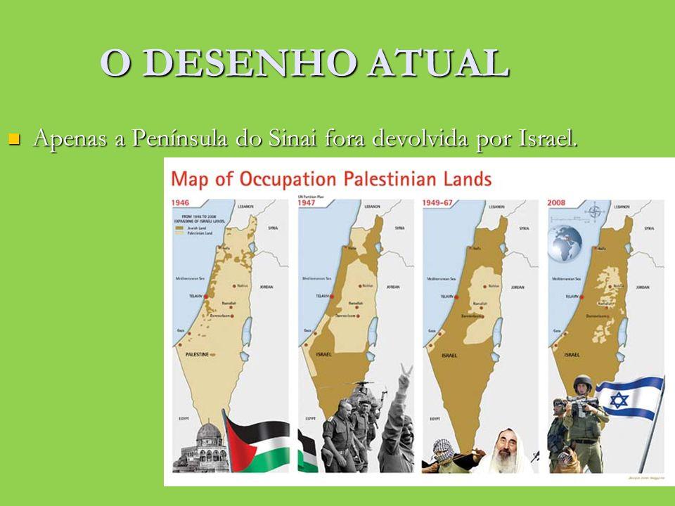 O DESENHO ATUAL Apenas a Península do Sinai fora devolvida por Israel.