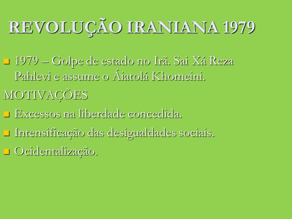 REVOLUÇÃO IRANIANA 1979 1979 – Golpe de estado no Irã. Sai Xá Reza Pahlevi e assume o Áiatolá Khomeini.