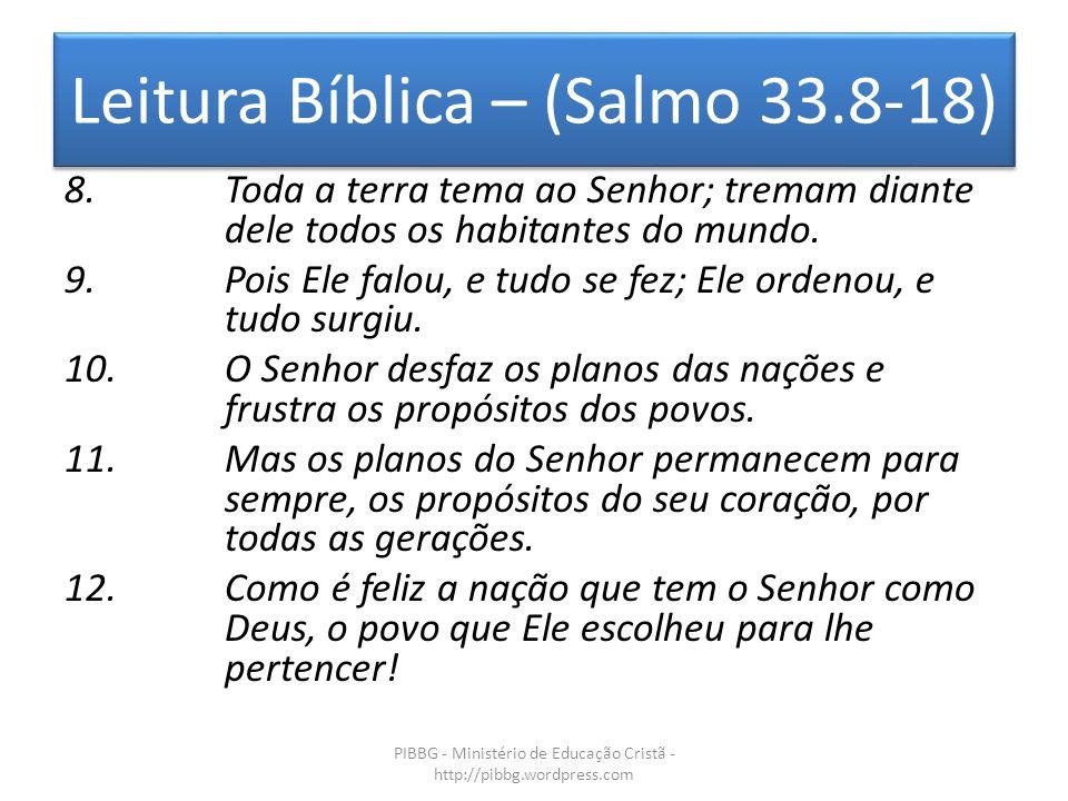 Leitura Bíblica – (Salmo 33.8-18)