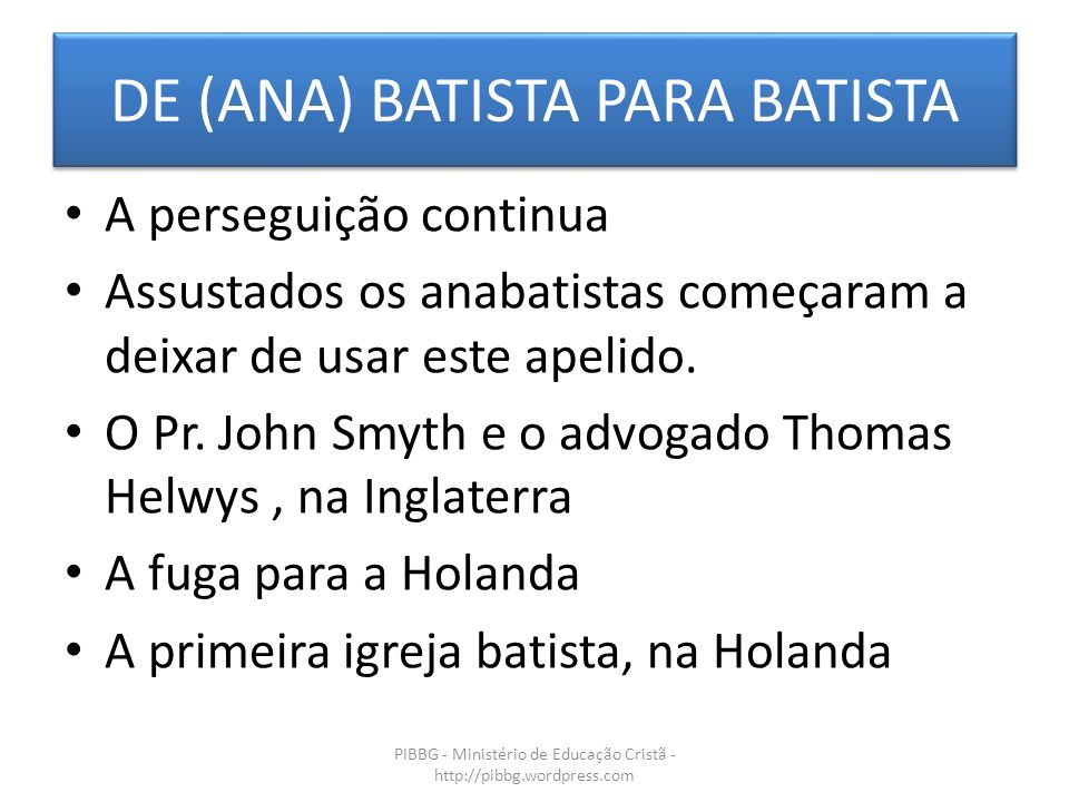 DE (ANA) BATISTA PARA BATISTA