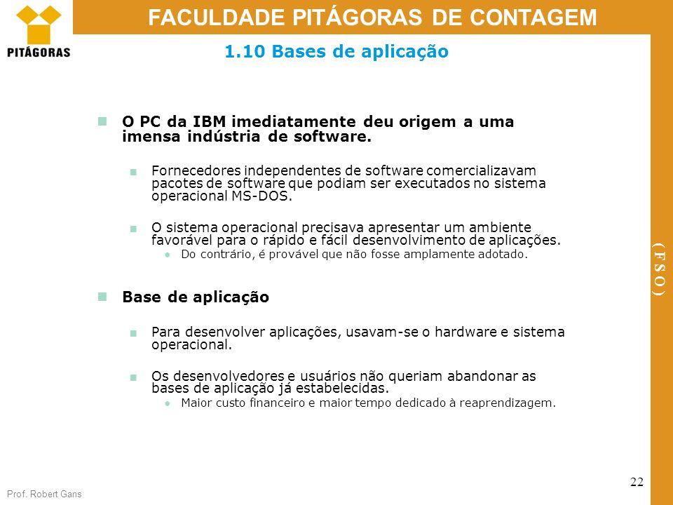 1.10 Bases de aplicação O PC da IBM imediatamente deu origem a uma imensa indústria de software.