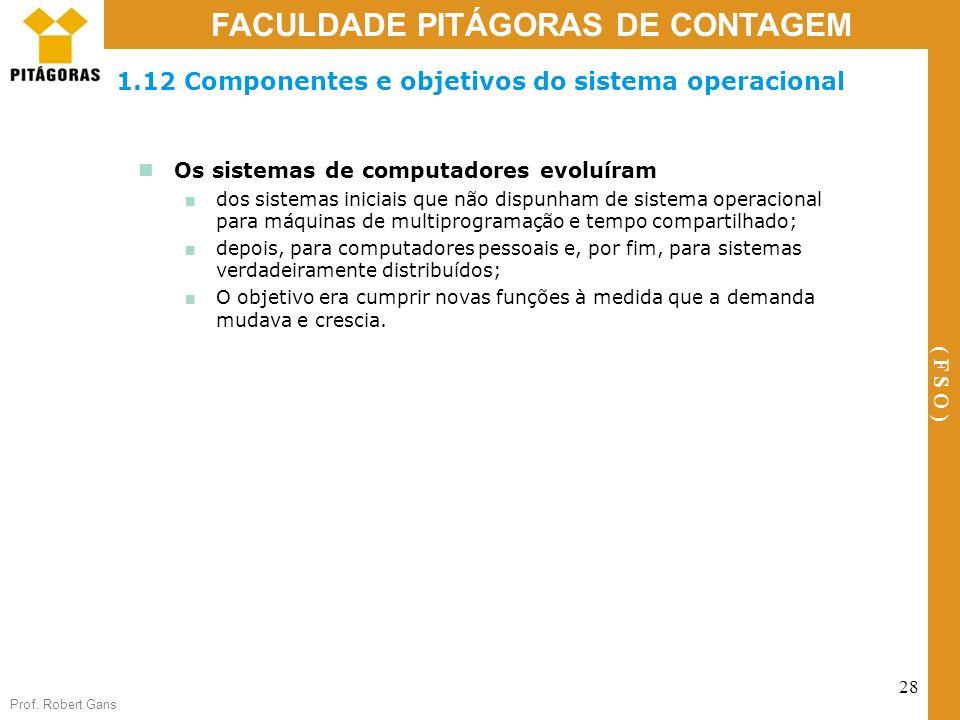1.12 Componentes e objetivos do sistema operacional