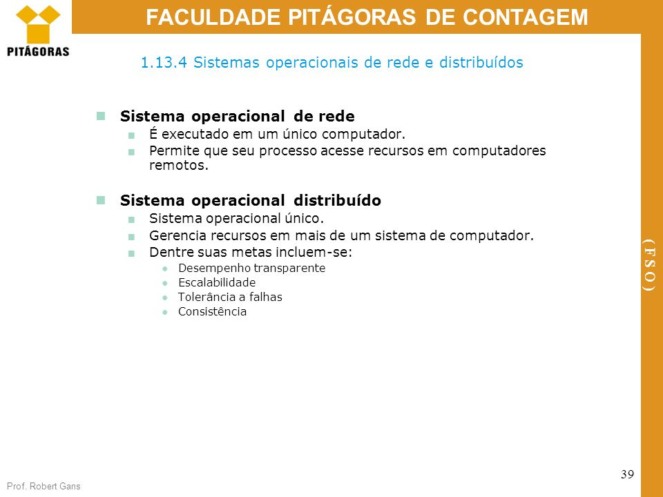 1.13.4 Sistemas operacionais de rede e distribuídos