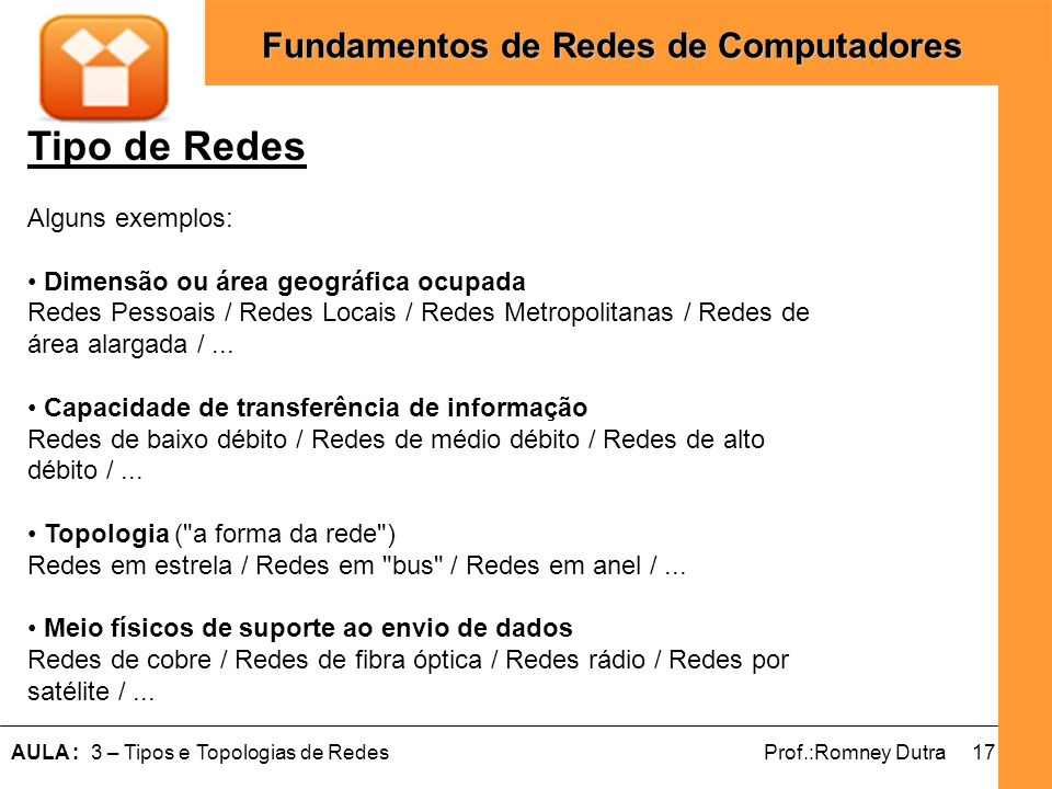 Tipo de Redes Alguns exemplos: