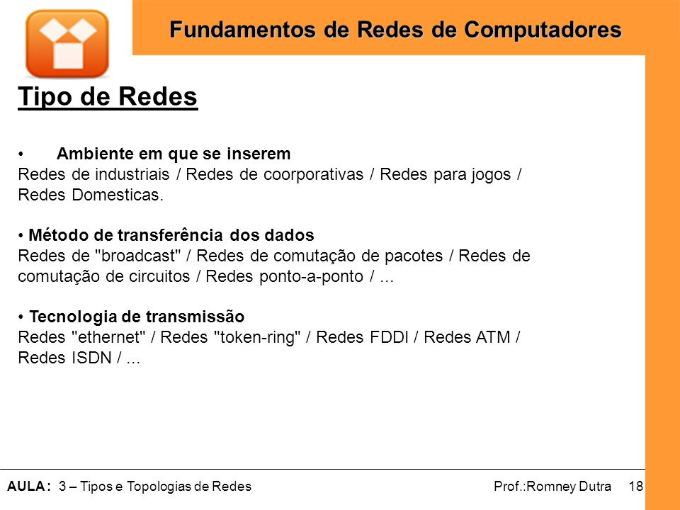 Tipo de Redes Ambiente em que se inserem Redes de industriais / Redes de coorporativas / Redes para jogos / Redes Domesticas.