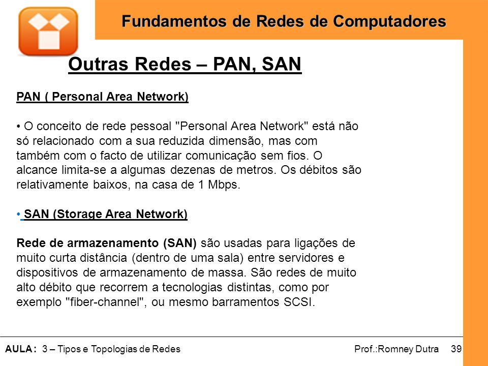 Outras Redes – PAN, SAN PAN ( Personal Area Network)