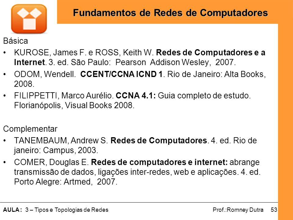 Básica KUROSE, James F. e ROSS, Keith W. Redes de Computadores e a Internet. 3. ed. São Paulo: Pearson Addison Wesley, 2007.