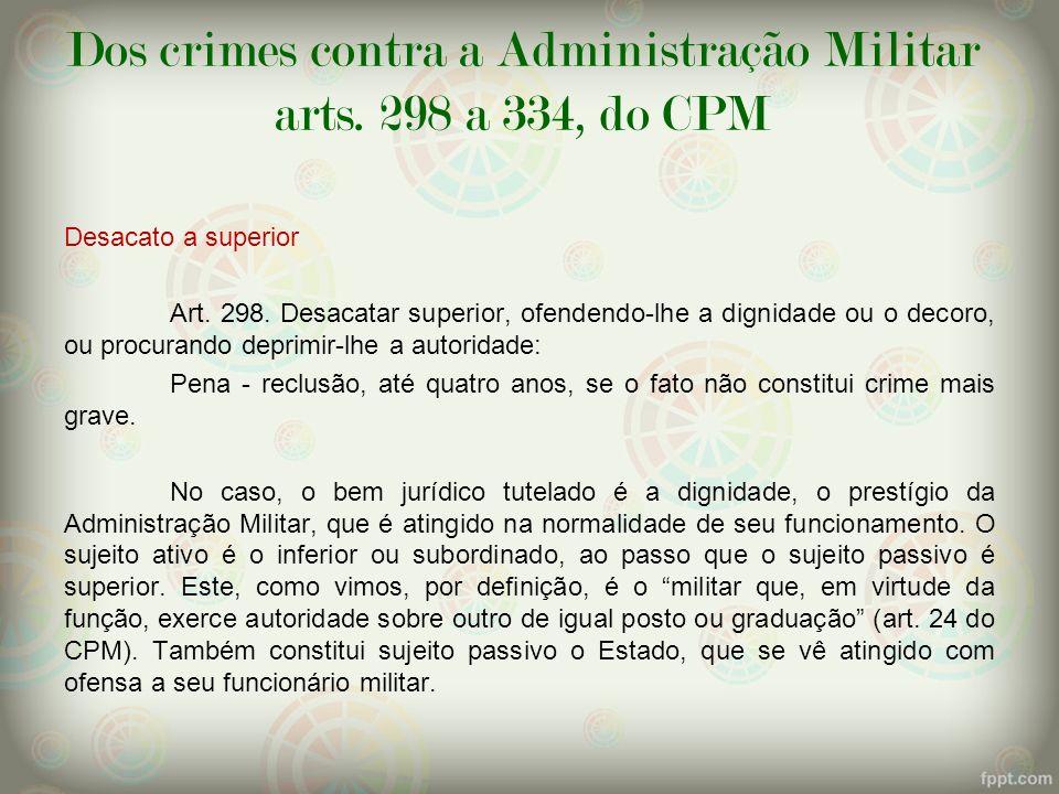Dos crimes contra a Administração Militar arts. 298 a 334, do CPM