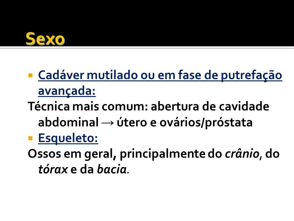 Sexo Cadáver mutilado ou em fase de putrefação avançada: