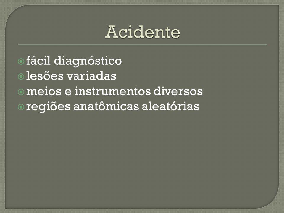 Acidente fácil diagnóstico lesões variadas
