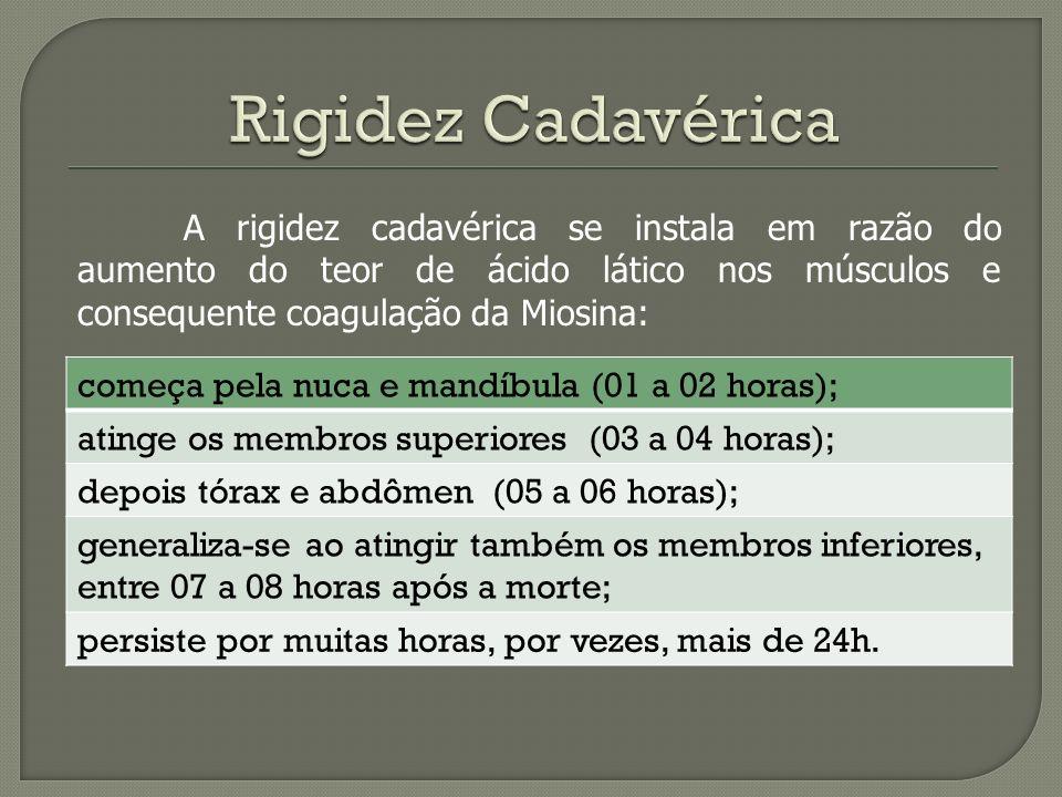 Rigidez Cadavérica começa pela nuca e mandíbula (01 a 02 horas);