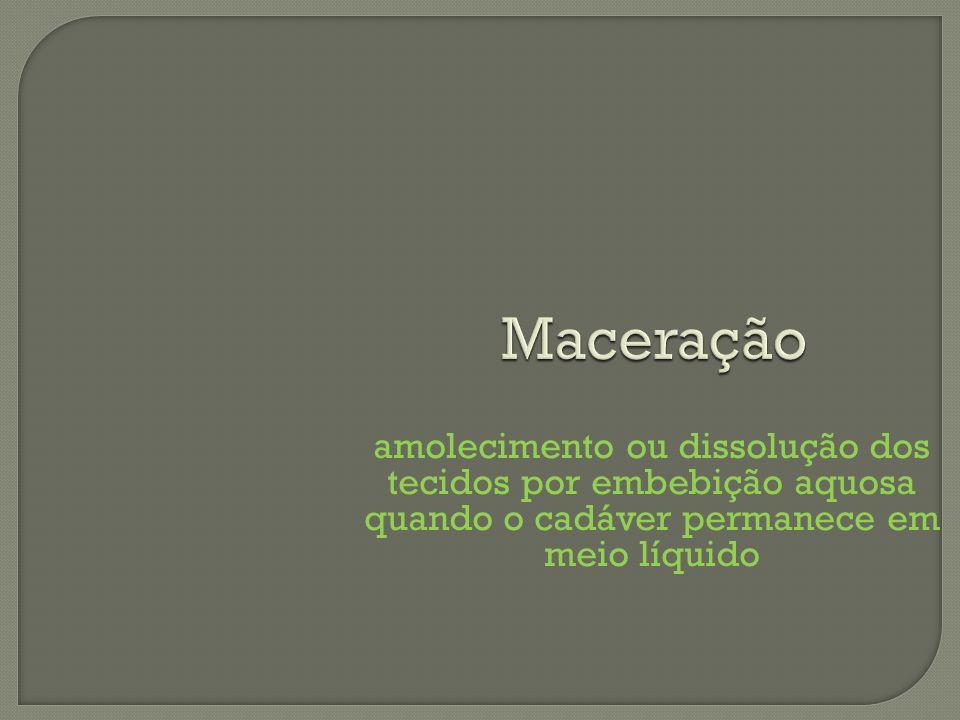 Maceração amolecimento ou dissolução dos tecidos por embebição aquosa quando o cadáver permanece em meio líquido.