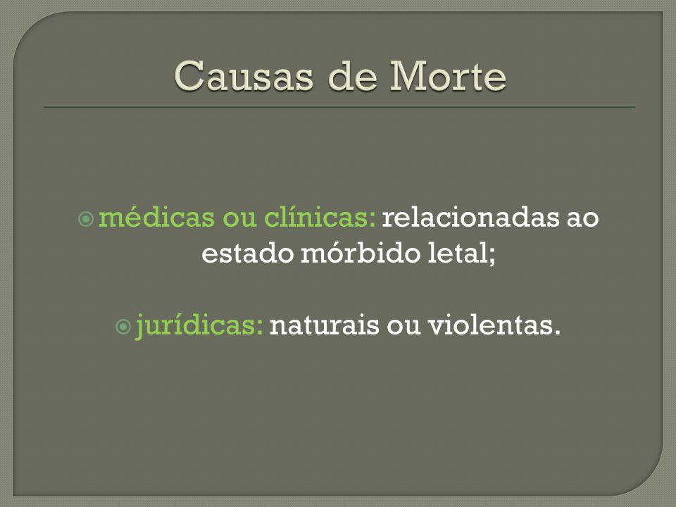 Causas de Mortemédicas ou clínicas: relacionadas ao estado mórbido letal; jurídicas: naturais ou violentas.