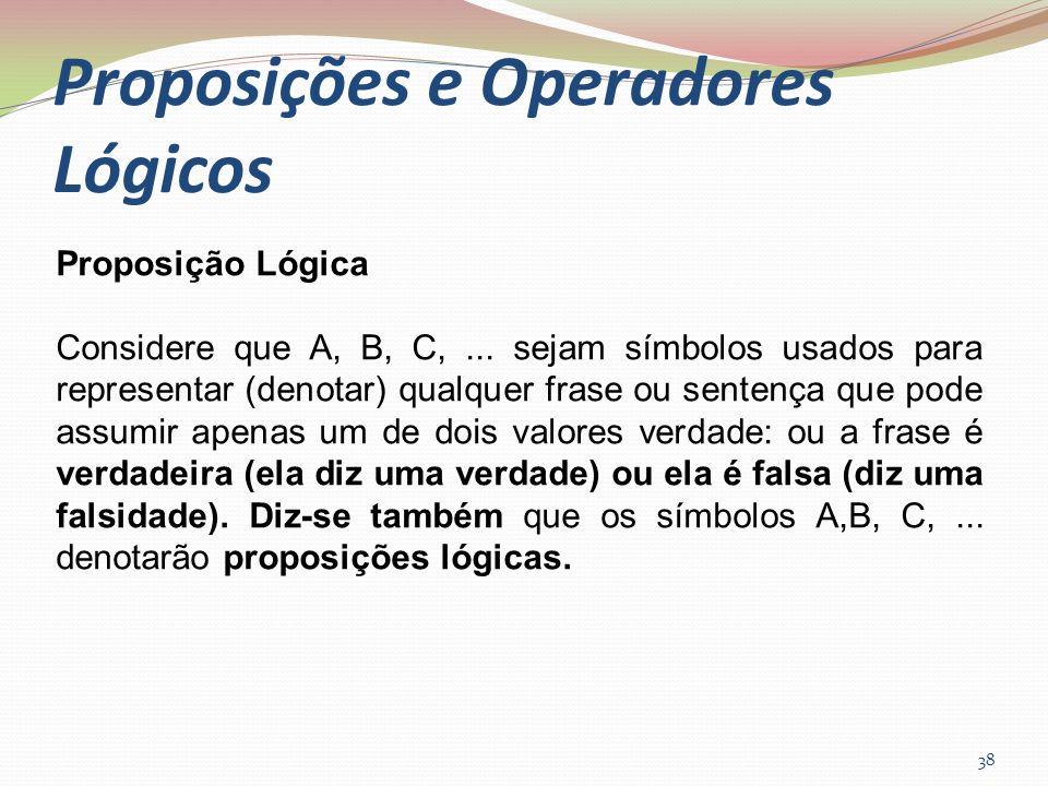 Proposições e Operadores Lógicos