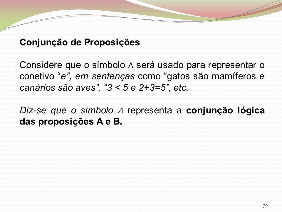 Conjunção de Proposições