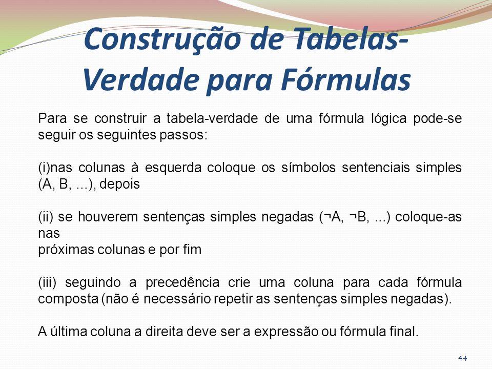 Construção de Tabelas-Verdade para Fórmulas