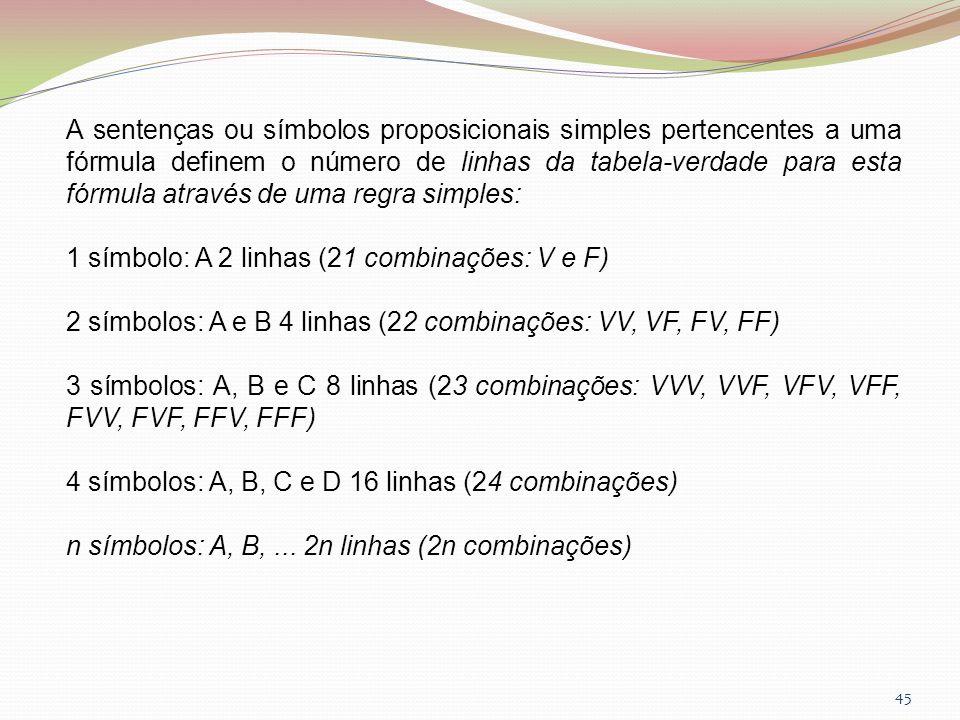 A sentenças ou símbolos proposicionais simples pertencentes a uma fórmula definem o número de linhas da tabela-verdade para esta fórmula através de uma regra simples:
