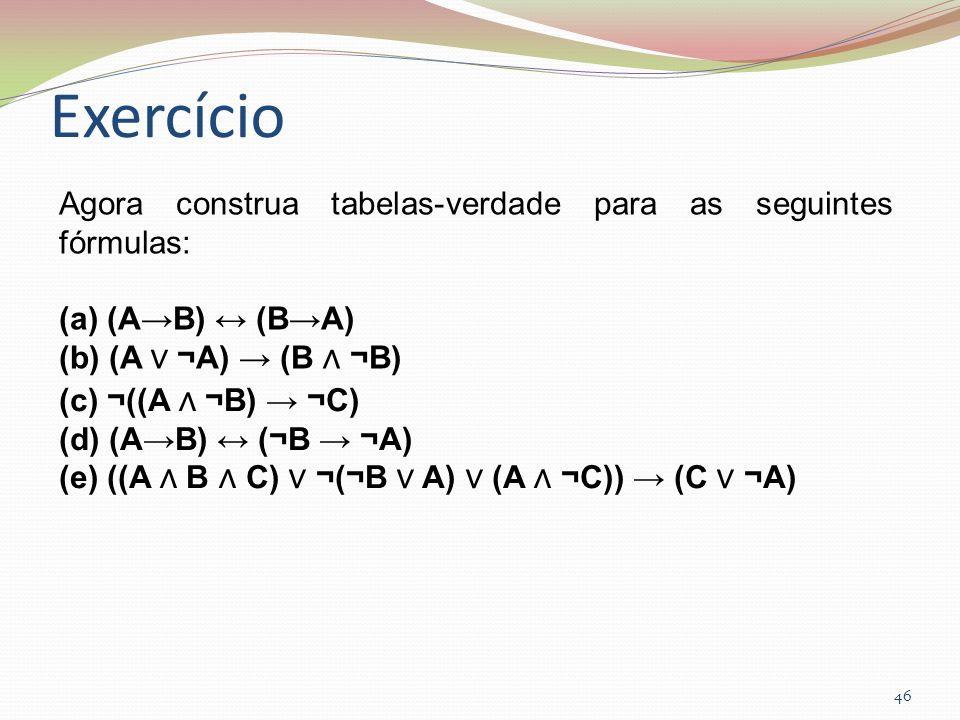 Exercício Agora construa tabelas-verdade para as seguintes fórmulas: