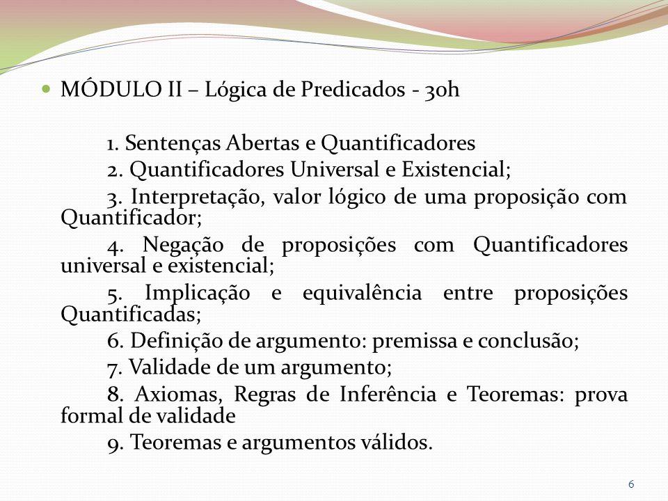 MÓDULO II – Lógica de Predicados - 30h