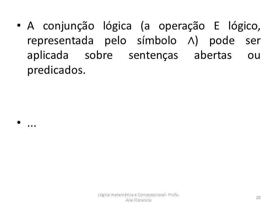 Lógica matemática e Computacional- Profa. Ana Florencia