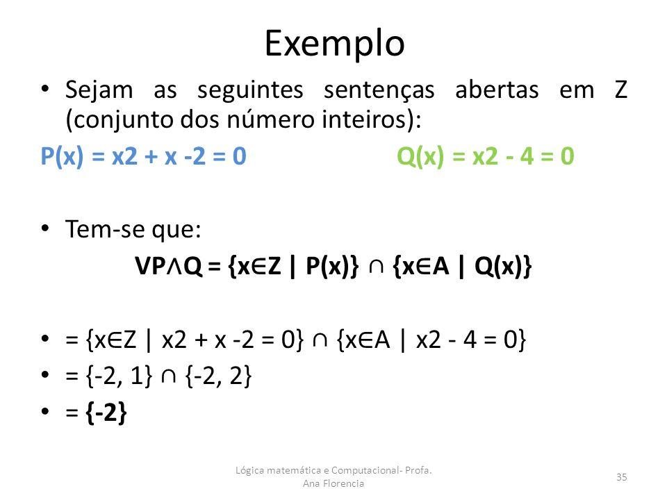VP∧Q = {x∈Z | P(x)} ∩ {x∈A | Q(x)}