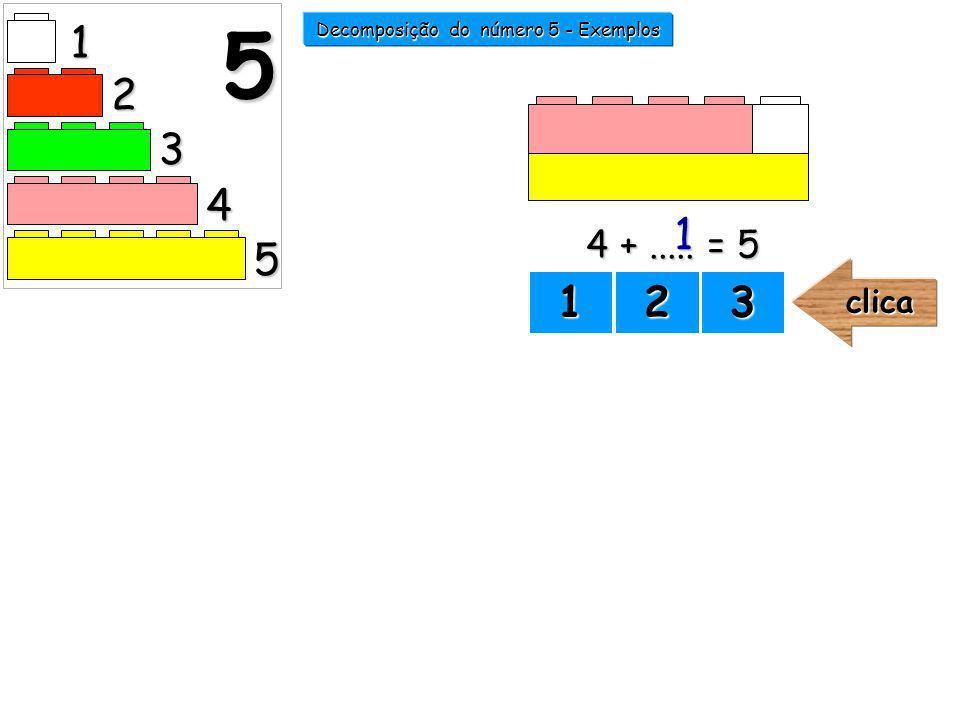 Decomposição do número 5 - Exemplos